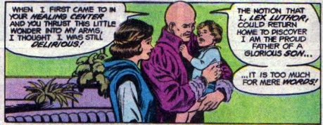 Lex, Jr. with his parents. Art by Curt Swan and Murphy Anderson, 1983.